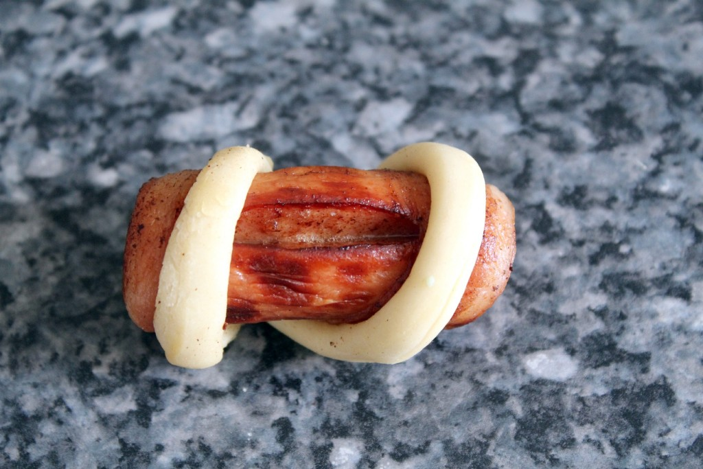 Wrap pretzel dough around hot dog