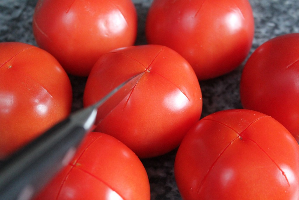 Cut an X on your tomatoes