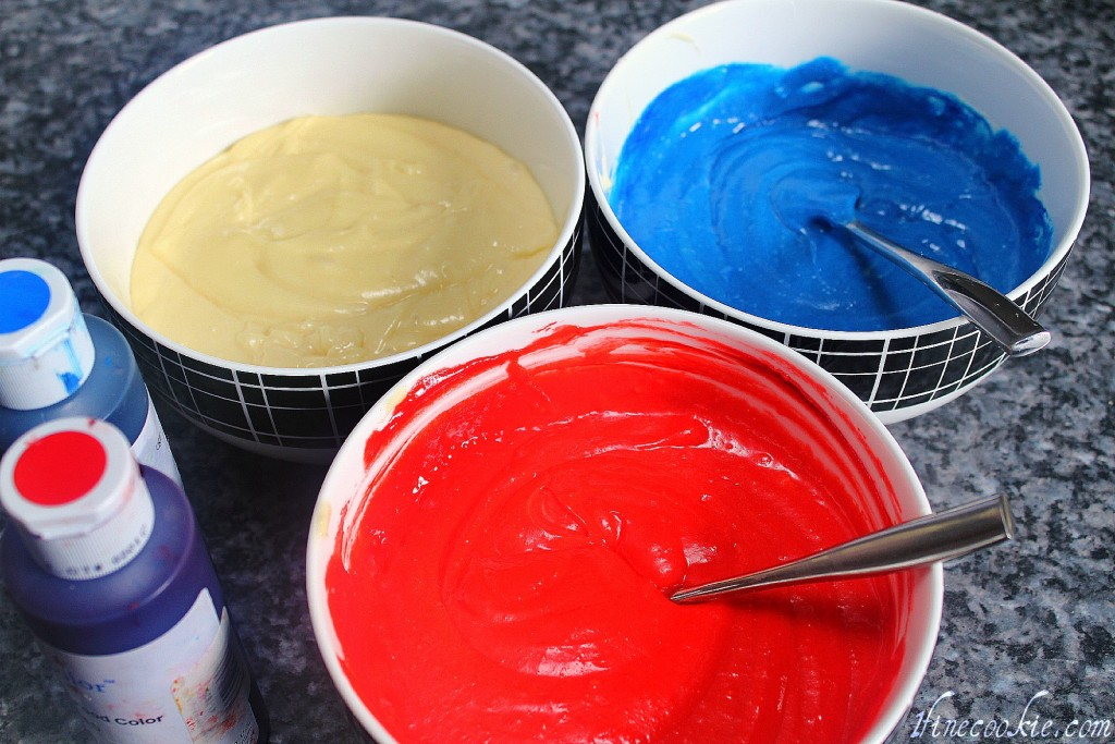 Cake batter, red, white, and blue