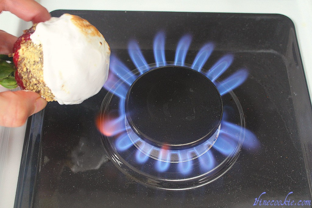 use gas burner to toast the marshmallow Chocolate, heavy cream,corn syrup, sugar, cream of tartar, egg whites, vanilla egg yolk, butter stuffed strawberries smore cupcakes brownie cheesecake