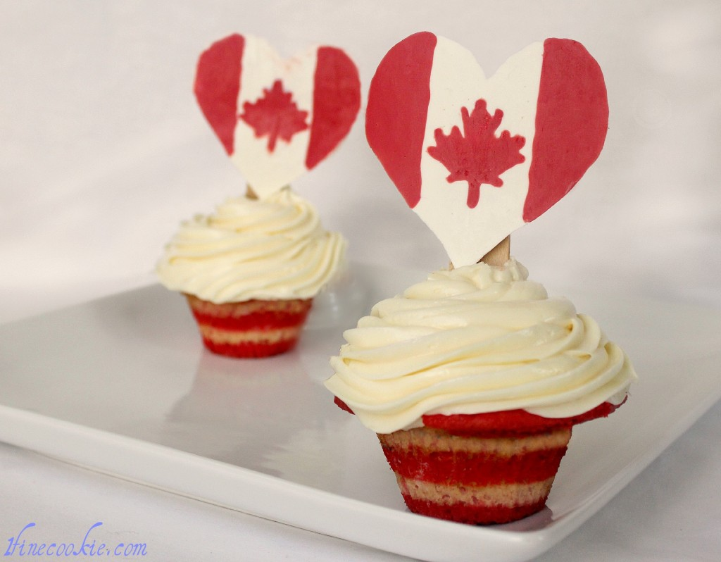 Canadian pop rock toppers on cupcakes canada day