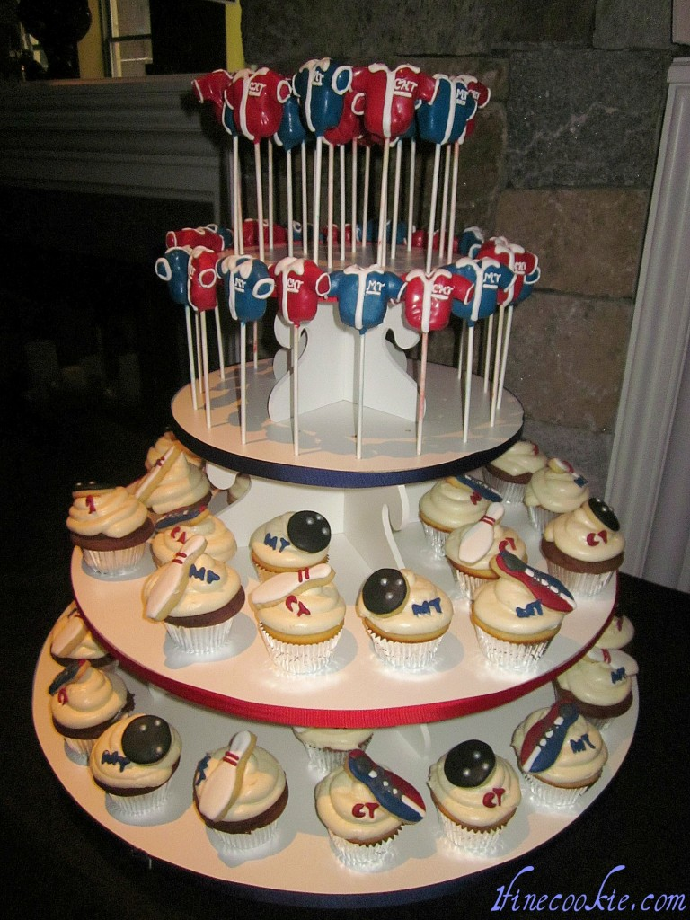 Bowling shirt cake pops and bowing cupcakes