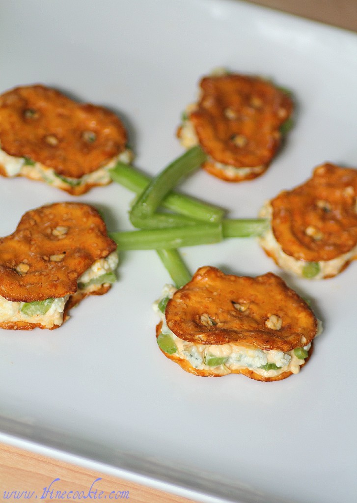 Buffalo and blue cheese pretzel crisp sandwiches
