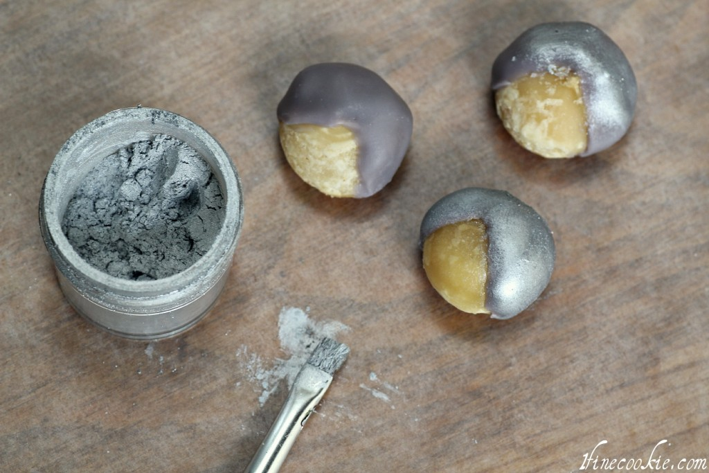 Use luster dust if necessary silver chocolate covered nuts almonds macadamia