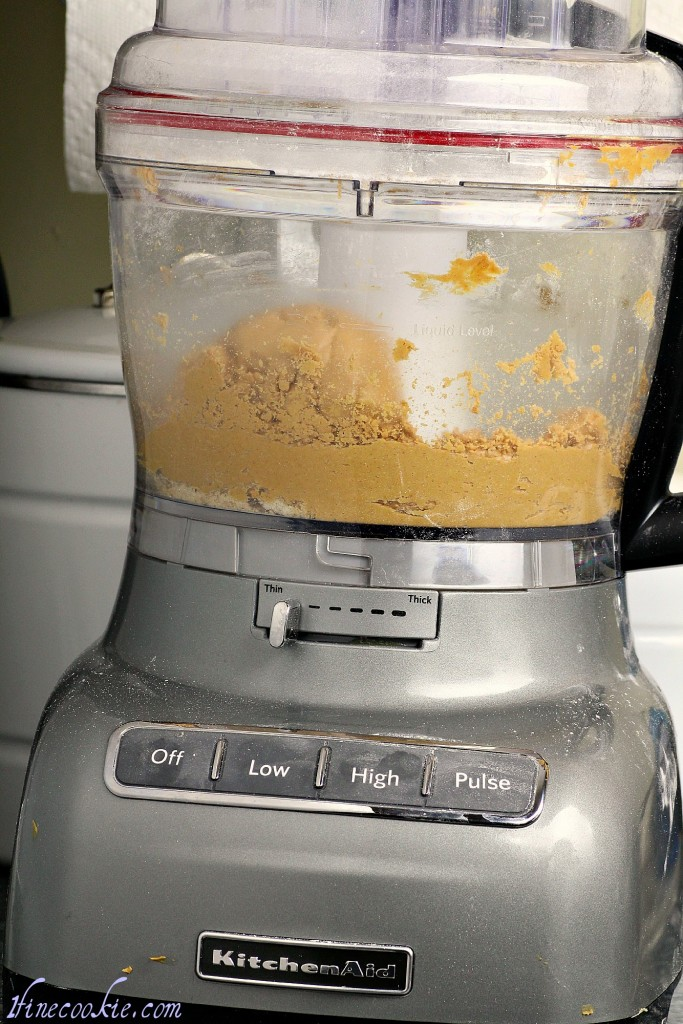 use a food processor to mix ingredients for the peanut butter filling