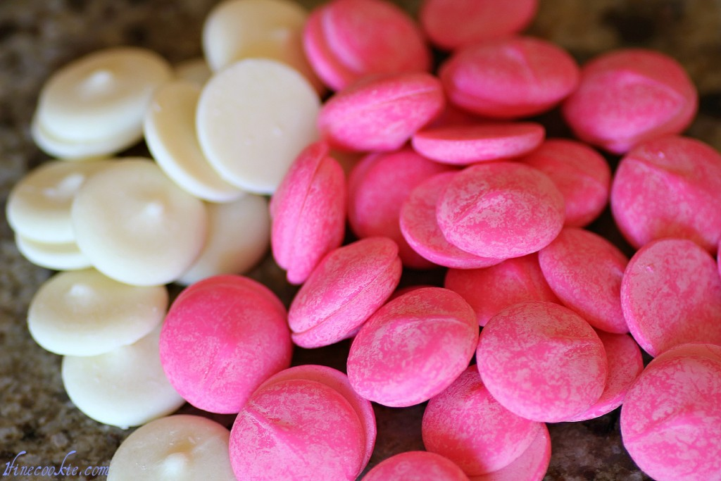 white and pink candy melts