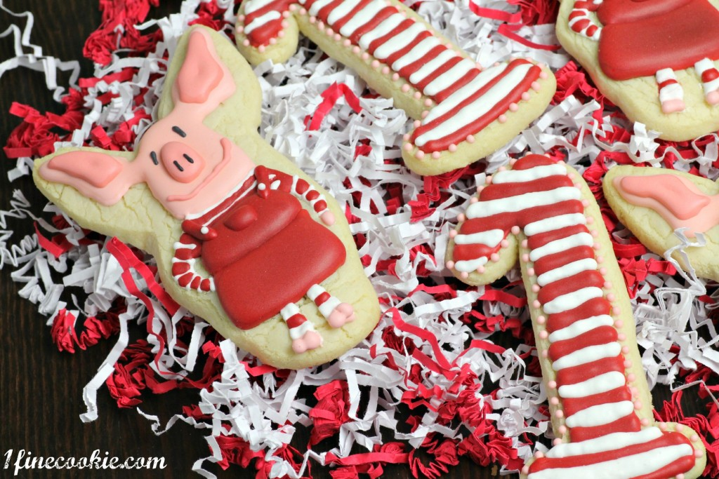 Olivia Cookies, stripe, red, white, pink, pig, cartoon, nickelodeon, nick jr., kids, girl, children, birthday, first, decorated, custom, sugar, cookies