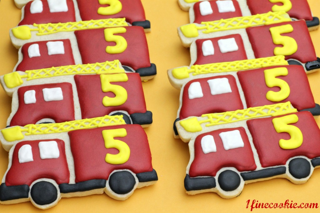 Fire Truck Cookies, red, yellow, black, 5, years, old, birthday, boy, theme, idea, fireman, fire, truck, custom, hand, decorated, sugar, icing,