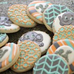 Baby Shower Cookies, decorated, custom, made, handmade, preppy, print, chevron, zig zag, zig-zag, elephant, white, silver, gray, grey, aqua, turquoise, blue, teal, orange, sherbet, coral, light, pastel, design, chevron, garden, garden fence, print, stripe, monogram, elephant, baby, cartoon, children, shower, party, birthday, ,