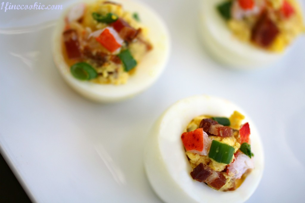 lobster and bacon stuffed deviled eggs