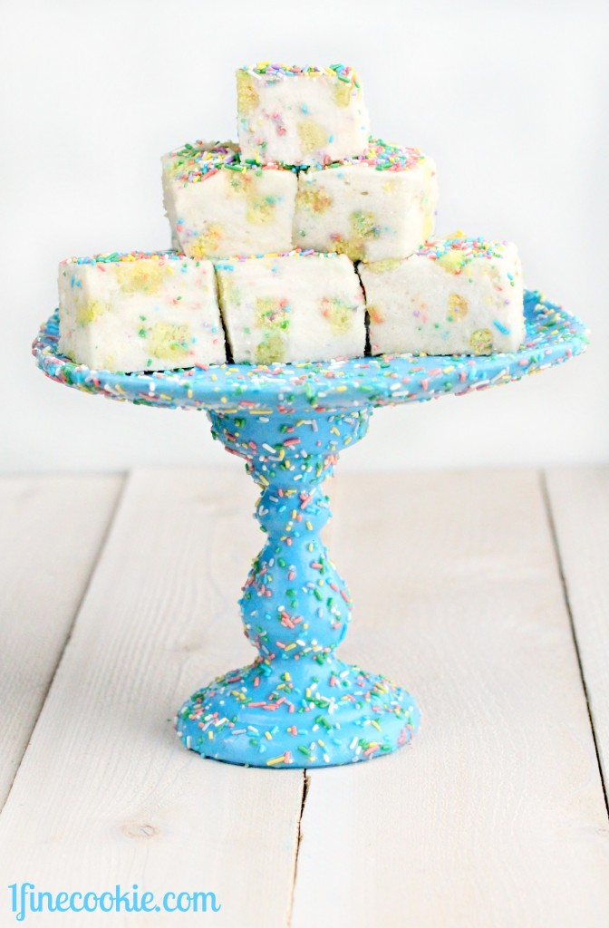 Birthday Cake Marshmallows on a Sprinkle Cake Stand by 1 Fine Cookie