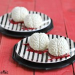 halloween dessert, brain desserts, brain candy, blood dessert, spooky treats, halloween recipes, panna cotta brains, raspberry blood sauce, raspberry sauce, panna cotta, cream desserts, creamy dessert, vanilla bean, spooky food, halloween food, halloween party food, adult halloween, edible brains, october, scary food, food that looks like,