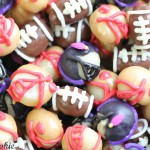 Baltimore Ravens Nuts by 1 Fine Cookie superbowl football snacks recipe party ideas almond chocolate white candy melts macadamia nuts tailgate tailgating menu dessert gifts birthday theme sides candy favors 49ers purple black gold red silver blue food