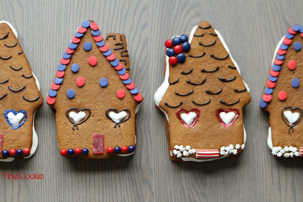 Gingerbread House Cookies by 1 Fine Cookie, piping, boozy, rum, infused,