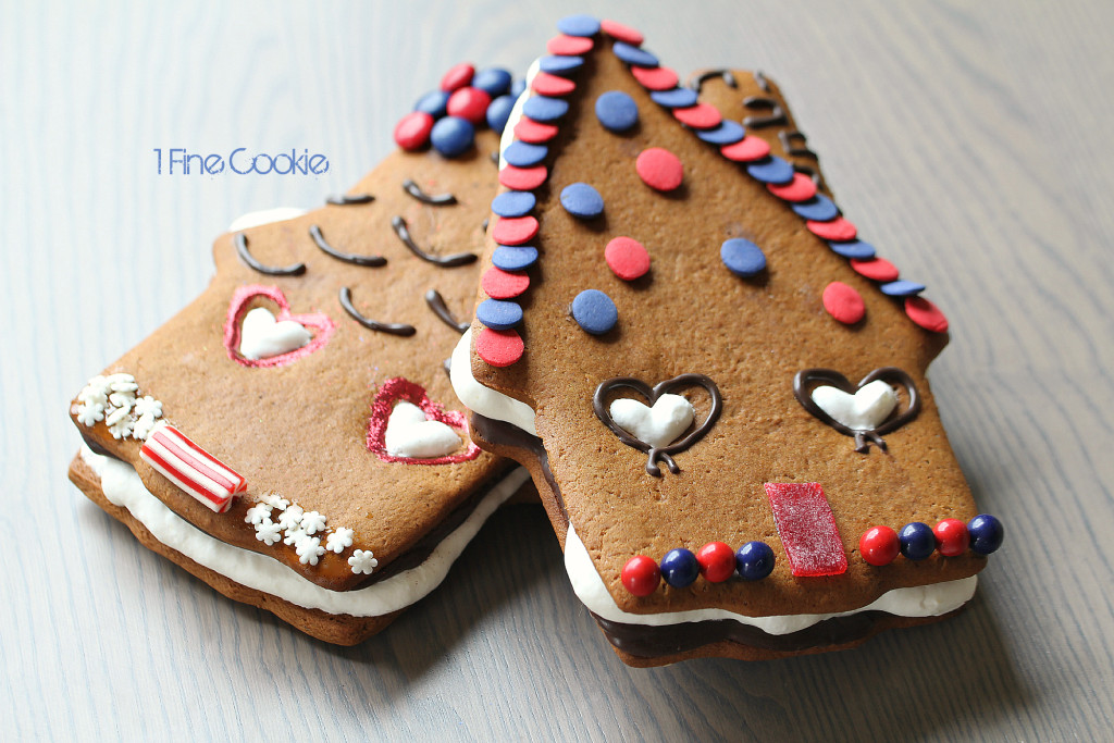 Gingerbread House S'more Cookies by 1 Fine Cookie, piping, boozy, rum, infused,