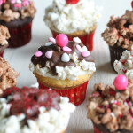 Valentine's Popcorn Sundae Cupcakes by 1 Fine Cookie, valentine's, day, recipe, cupcake, chocolate, vanilla, yellow, cake, pink, red, white, sprinkles, popcorn, seasoned, salty, savory, sweet, sprinkles, sundae, party,