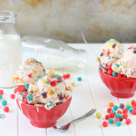 Cereal Milk Ice Cream Recipe by 1 Fine Cookie, cereal, ice cream, milk, fruity pebbles, trix, foot loops, fruit loops, home made, lucky charms, vanilla, extract, bean, how to, make, recipe, kids, children, fun, unique, scoops, sundae, frozen, dessert, red, food, photography, teal, turquoise, yellow, purple, orange, green, blue, white, pink, rodelle, spices,